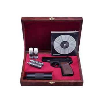 Подарочный набор пневматический пистолет Макарова ПМ с фальшглушителем (МР 654К-22) в кейсе СССР