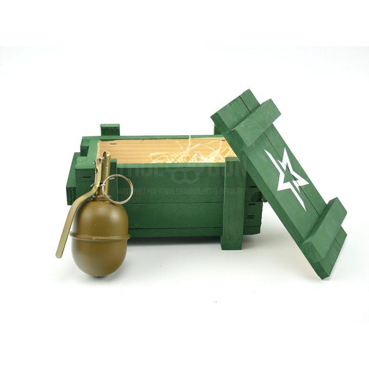 Подарочный набор макет гранаты РГД-5 в деревянном ящике