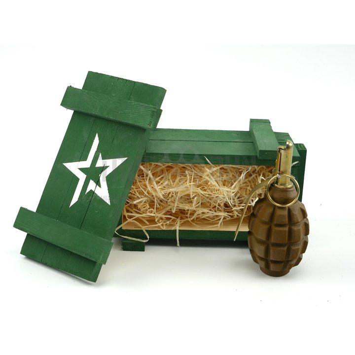 Подарочный набор макет гранаты Ф1 в деревянном ящике