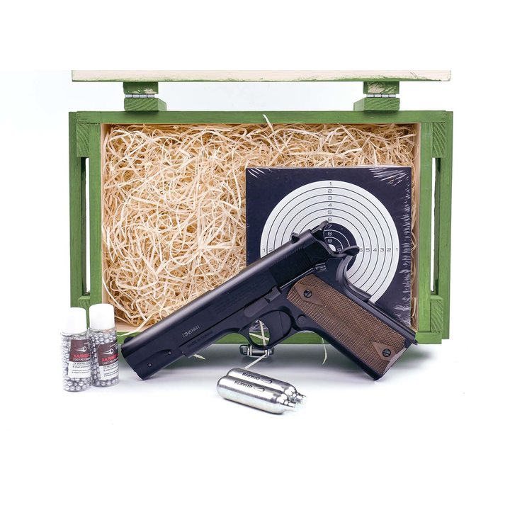Подарочный набор пневматический пистолет Кольт 1911 (Crosman GI MODEL 1911BBb) в деревянном ящике
