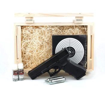 Подарочный набор пневматический пистолет Глок (Umarex Glock-22) в деревянном ящике