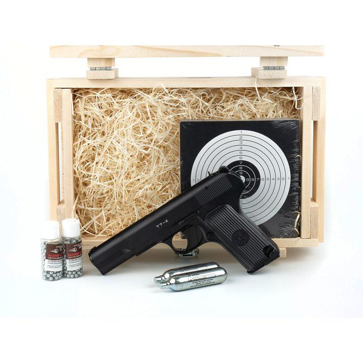 Подарочный набор пневматический пистолет ТТ Тульский Токарева (Borner TT-X) в деревянном ящике