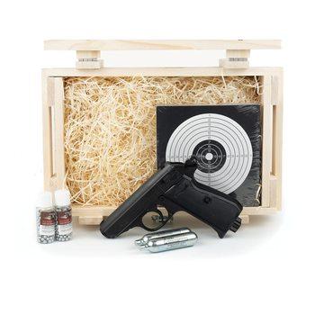 Подарочный набор пневматический пистолет Вальтер (Umarex Walther PPK/S) в деревянном ящике