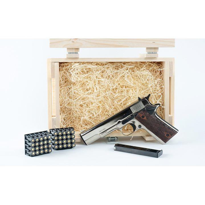 Подарочный набор СХП пистолет COLT 1911 (CLT 1911-СО) хром, в деревянном ящике
