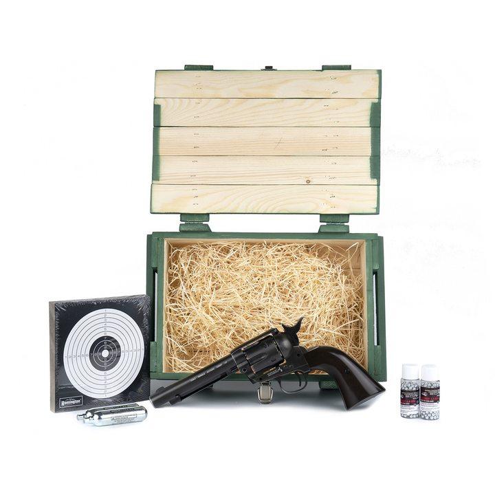 Подарочный набор пневматический револьвер umarex colt single action army (saa) bb antique 4,5 mm в деревянном ящике