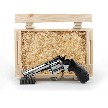 """Подарочный набор СХП револьвер Таурус СО, ствол 4,5"""", хром в деревянном ящике"""